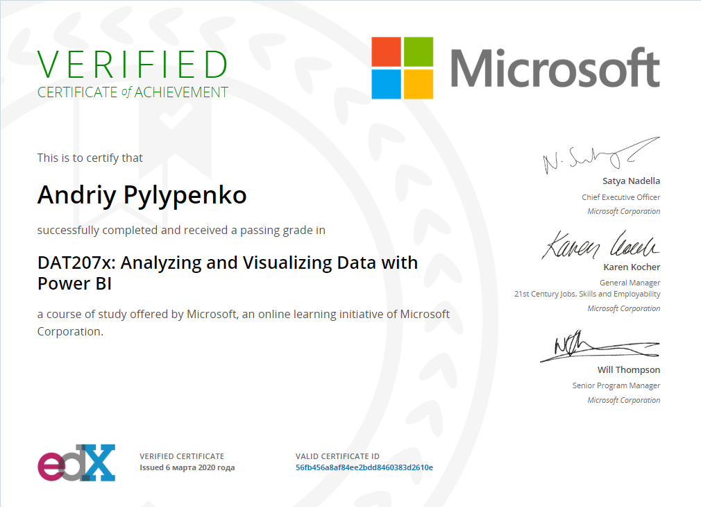 Andriy Pylypenko successfully completed and received a passing grade in DAT207x: Analyzing and Visualizing Data with Power Bl a course of study offered by Microsoft